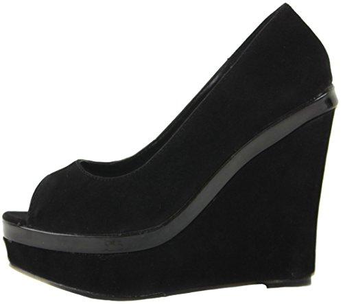 Womens Summer Black Suede Strappy High Heel Ladies Wedge Peeptoe Wedges Ankle Platform Boots Sandals Style 2 - Black