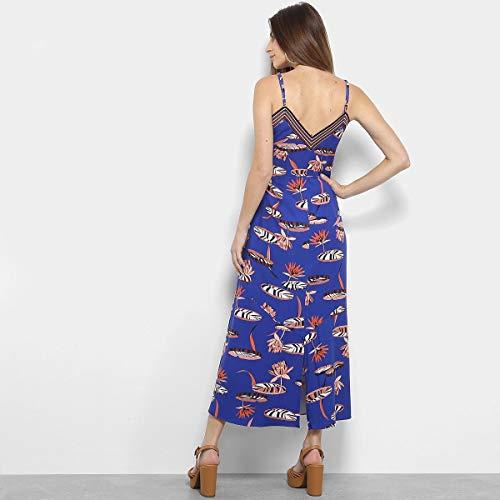 Vestido Midi Maria Filó Estampado Com Fendas Feminino - Azul - G