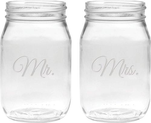Culver 2-Piece Etched Mr. and Mrs. Jar Glasses Set, 16-Ounce, (Custom Plastic Mason Jars)