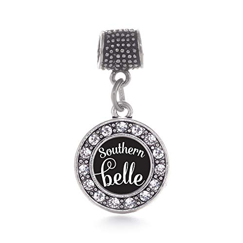 Inspired Silver - Southern Belle Memory Charm for Women - Silver Circle Charm for Bracelet with Cubic Zirconia Jewelry