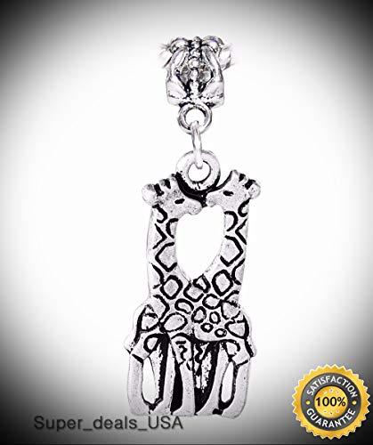 3d Halloween Rainbow Loom (Giraffe Couple Zoo Africa Safari Wild Animal Park Charm for European Bracelets DIY Handmade Ornament)