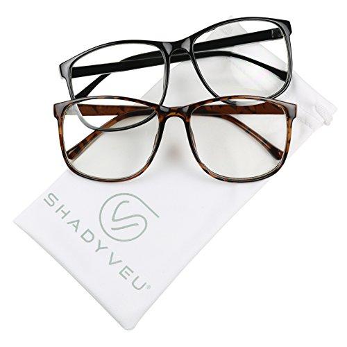 ShadyVEU - Retro Fashion Over Size Round Thin Nerdy Novelty P3 Aviator Eye Glasses (2-PK / 1 Black & 1 Tortoise, - Classy Reading Glasses