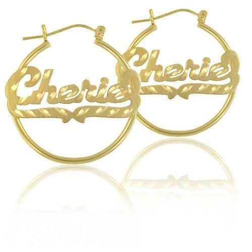 14K Gold Name Hoop Earrings with Diamond Cut.