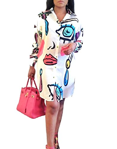 Stylish Print Individuality Women White Short Lounge Shirt Dresses Coolred ZxESvqwv