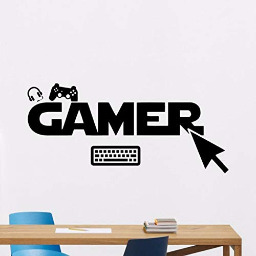 (TWJYDP Wall Sticker Wallstickers Gamer Wall Decal Removable Vinyl Sticker Gamepad Pc Mouse Wall Art Poster Kids Room Playroom Decoration Wall Vinyl Decal,Finished Size 22X10In(57X26Cm))