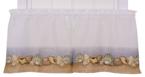 Amazon.com: Ellis Curtain Kitchen Collection Sea Shells 60 By 24 Inch  Tailored Tier Curtains, White: Home U0026 Kitchen