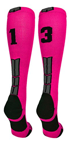 MadSportsStuff Neon Pink/Black Player Id Over the Calf Number Socks (#13, Medium) - Pink Softball Jerseys