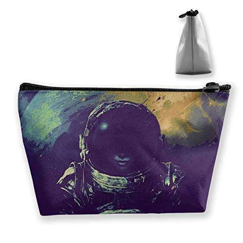(Makeup Bag Trapezoidal Storage Bag Astronaut Watercolor Space Portable Cosmetic Bag Ladies Mobile Travel)