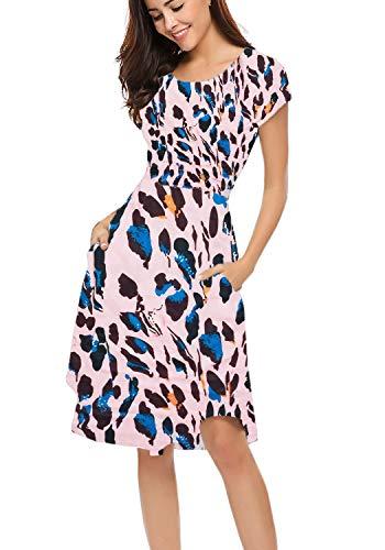 Halife Women's Summer Casual Stripe Elastic Waist Loose Beach Midi Dress (L, Pink Leopard)