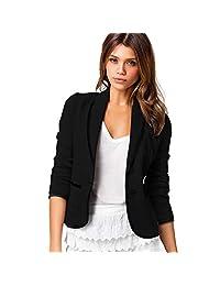 Kimloog Women's Casual Work Office Blazer Long Sleeve Slim Button Pockets Jacket
