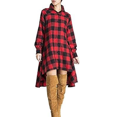 iShine Womens Oversize Long Sleeve Plaid Loose Irregular T-Shirt Casual Tunic Tops Dress