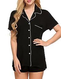 Ekouaer Women's Button Down Sleepwear Short Sleeve Pajama Set with Pj Shorts XS-XXL