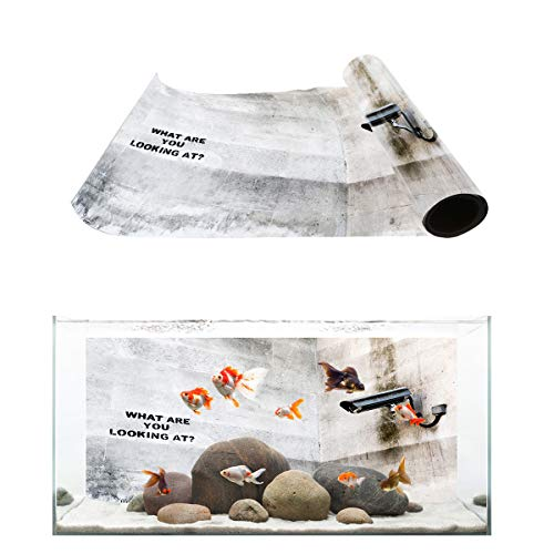 Libaoge Quote Aquarium Background, Graffiti On TV Quotes What are You Looking for Fish Tank Background Decoration PVC Sticker Wallpaper Photo Adhesive Paper Poster Backdrop 36.4