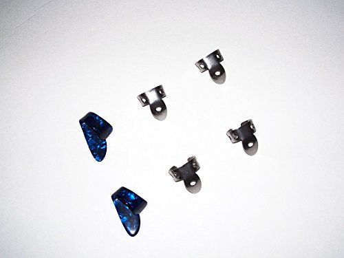2 Small Dark Blue Pearloid Thumb Pick and 4 NP1 Steel National Finger Pick 101755; Banjo,  Dobro, Steel, Guitar, USA