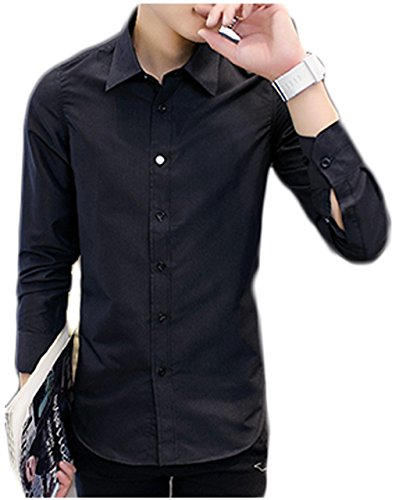 [ワン アンブ] 無地 長袖 シャツ カラー 4色展開 シンプル Yシャツ M ~ XXL メンズ