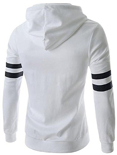 Rising ON Handsome Men's Breathable Chunky Long-Sleeve Hooded Pullover WhiteUS L=China XL