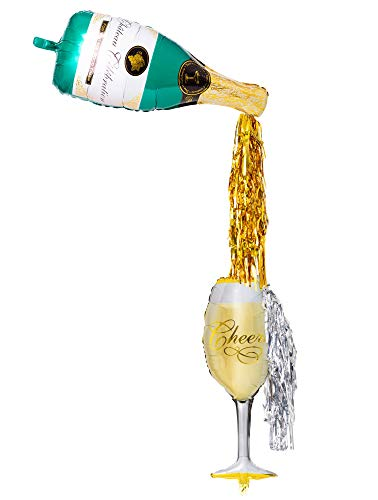 Prim & Kiki Pop the Bubbly! Large Champagne Balloon Kit with 36 Champagne Bottle + Flute Foil Balloons and 10 Gold + Silver Tassels - For 21st Birthday, New Years Eve and Bachelorette Decorations