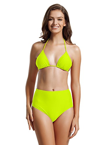 zeraca Women's High Waisted Bottom Triangle Bikini Bathing Suits (L14, Blazing Yellow)
