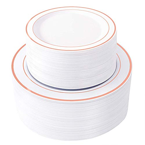 100 Piece Plastic Party Plates White Rose Gold Rim ~ 50 Premium Heavy Duty 10.25