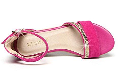 SHFANG Sandalias Femeninas Verano Poe Pez Boca Zapatos Mesa impermeable Espesor de fondo Compras Los estudiantes trabajan tres colores 6 cm Rose Red