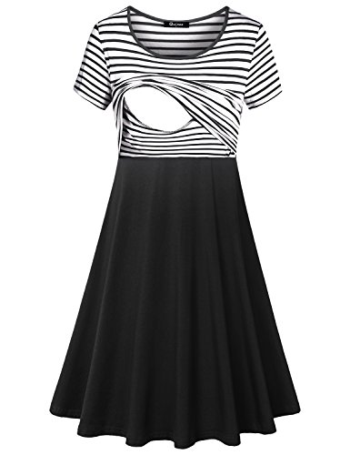 Quinee Nursing Friendly Dress, Women Short Sleeve Crew Neck Casual Stripes Clothes for Breastfeeding Post Partum Tunic Patchwork Contrast Color Pregnancy Dresses Black White S