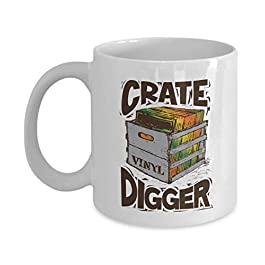 Crate Digger Graphic Vinyl Crate Art Coffee & Tea Mug, Cup Décor, Stuff, Accessories, Crate Digging Giftables For A Disc…