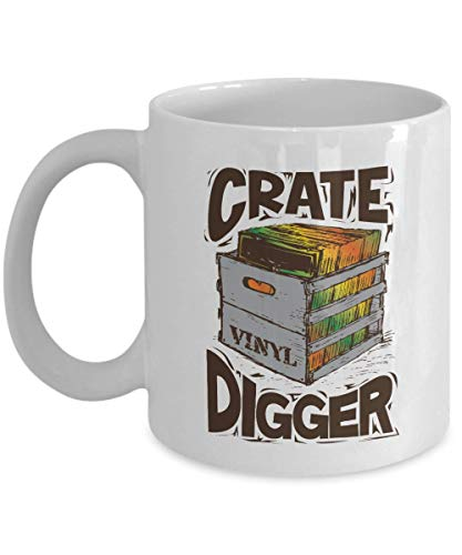 Crate Digger Graphic Vinyl Crate Art Coffee & Tea Gift Mug, Cup Décor, Stuff, Accessories, Crate Digging Gifts For A Disc Jockey Or DJ, Vintage Hip Hop Music Lover Or Hiphop Record Lovers (11oz)