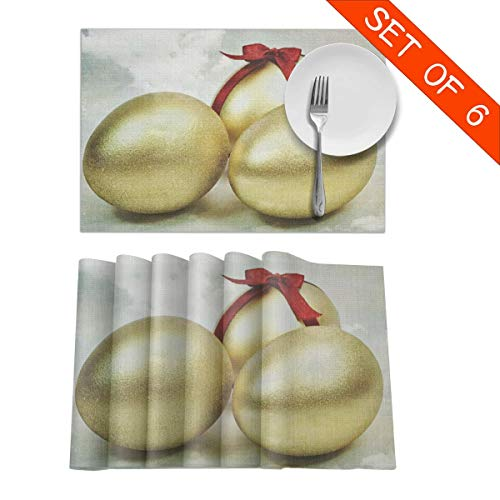 Baerg Table Mats,Placemat Set of 6 Non-Slip Washable Place Mats - Three Golden Eggs Heat Insulation Stain Resistant Kitchen Dining Table Mats 12x18 -