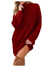 AUDATE Women's Casual Long Sleeve Round Neck Sweater Dress Solid Loose Pullover