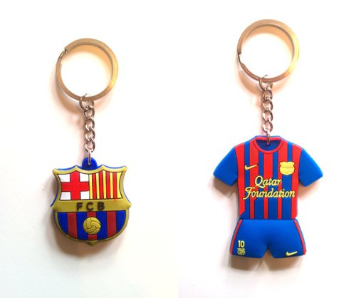 (FC Barcelona & Lionel Messi #10 Home Jersey Keychain (2-Pack))