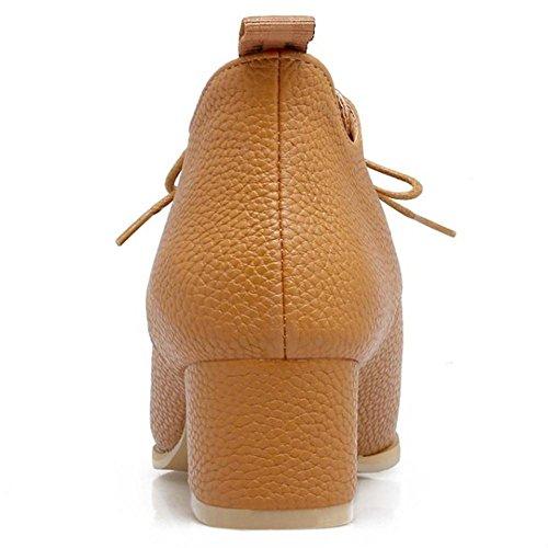 COOLCEPT Damen Schnurung Chunky Schuhe Brown
