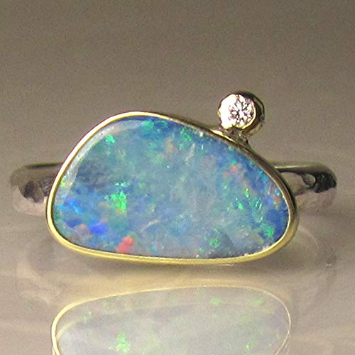 Australian Boulder Opal - Australian Boulder Opal and Diamond Ring in 18k Gold and Sterling Silver