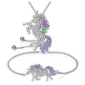 4MEMORYS Rainbow Unicorn Jewelry Set Including Pendant Necklace, Bracelet Rhinestone Crystal Rhodium Plated Women Girls Unicorn Gift Set