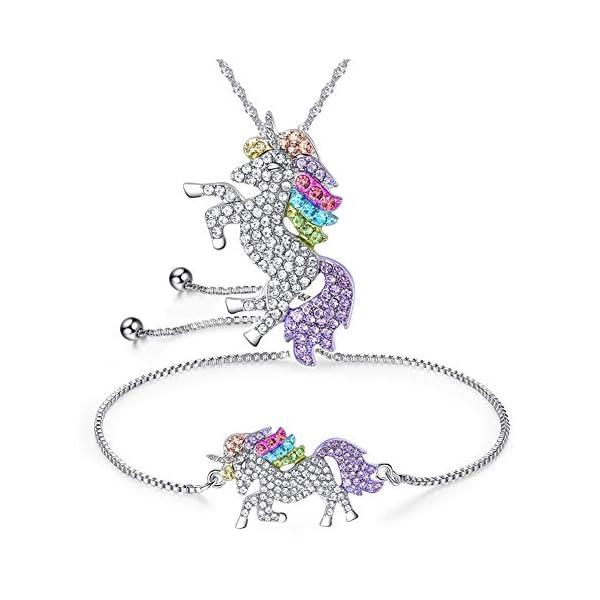 4MEMORYS Rainbow Unicorn Jewelry Set Including Pendant Necklace, Bracelet Rhinestone Crystal Rhodium Plated Women Girls… 3