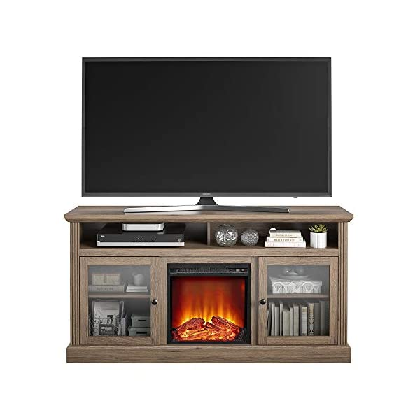 """Ameriwood Home Chicago Fireplace 65"""", Rustic Oak TV Stand,"""