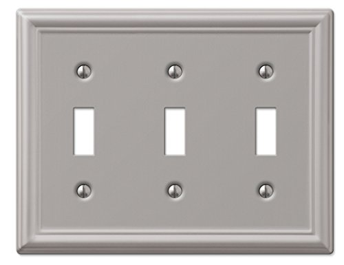 Duplex Outlet Triple Toggle Switchplate - Amerelle Chelsea Triple Toggle Steel Wallplate in Brushed Nickel