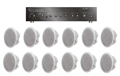 Large Restaurant/Bar/Retail Store Business Background Music Sound System- Amplifier, 12 Speakers + (Restaurant Sound System)