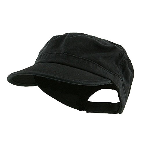 Wholesale Enzyme Washed Cotton Army Cadet Castro Hats  Black    20766  One Size Black One - Women Castro