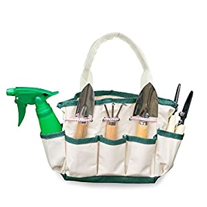 GardenHOME Indoor, Small or Kids Garden 7-Piece Garden Tools - 1 Garden Tool Bag, 3 Tools, 2 Scissors, 1 Garden Sprayer