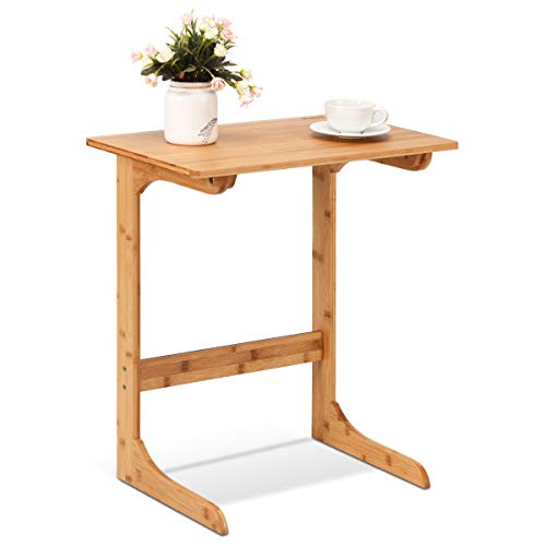 GOFLAME Bamboo Side Table, C-Shape Coffee Snack End Table Bed Side Table, Portable Workstation, Laptop Desk with Painted Surface for Home Office Use (Natural)