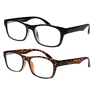 Reading Glasses, Prescription Eyeglasses For Men, Two Pack of Fashion Readers in Black & Tortoise Shell, +250, By OptiPlix