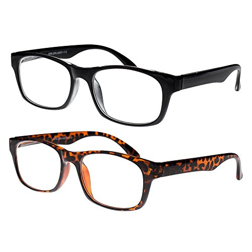 Reading Glasses, Prescription Eyeglasses For Men, Two Pack of Fashion Readers in Black & Tortoise Shell, +150, By - Buy Glasses Only Frames