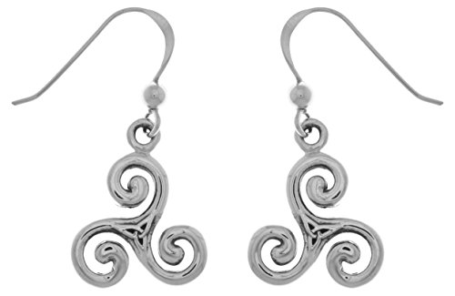 Jewelry Trends Celtic Trinity Triskele Sterling Silver Dangle Earrings