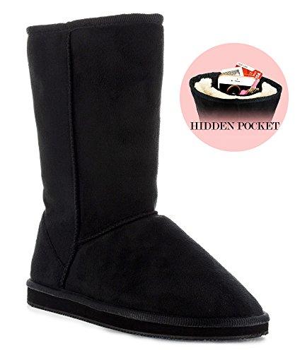 RF ROOM OF FASHION Womens Vegan Shearling Fur Lined Hidden Pocket Mid-Calf Winter Boots