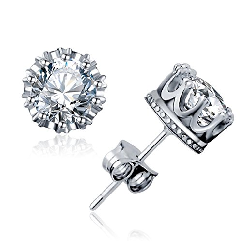 Indian Woman Costume Ireland (Women's Stud Earrings Sterling Silver 925 Classic Crown Cubic Zirconia Nickle Free)