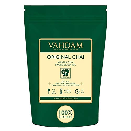 VAHDAM, India's Original Masala Chai Tea Loose Leaf (200+ Cups) | 100% NATURAL INGREDIENTS | Black Tea, Cinnamon, Cardamom, Cloves & Black Pepper | Brews Chai Latte | Indian House Recipe | 16oz Bag