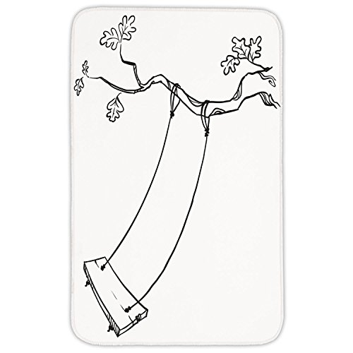 Rectangular Area Rug Mat Rug,Outdoor,Sketchy Leaves Tree Branch with a Swing and Word of Joy Garden Park Play Childhood,Black White,Home Decor Mat with Non Slip Backing by iPrint
