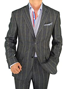 B00EXUD1FO Bianco B Men's Two Button Modern Fit Side-Vent Linen Suit (40 Regular US, Navy Windowpane)