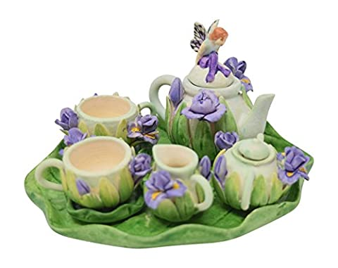 10 Piece Dollhouse Miniature Tea Set Floral Pattern with Teapot, Sugar, Creamer, Two Cups and Saucers, and Plate (Fairy With Purple - Tea Hostess Set