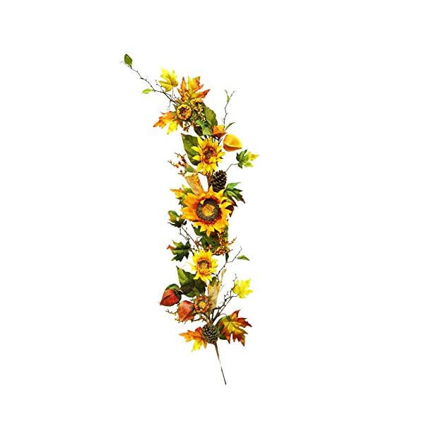48 inches Silk Sunflower Lantern Corn Flowers Garland for Wedding Party Home Garden, Wedding Arch Garden Wall Decoration, Home Decoration – Orange